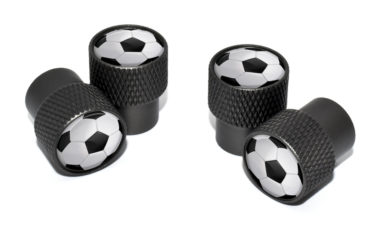 Soccer Ball Valve Stem Caps - Black Knurling