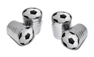 Soccer Ball Valve Stem Caps - Chrome