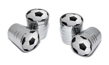 Soccer Ball Valve Stem Caps - Chrome image