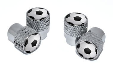 Soccer Ball Valve Stem Caps - Chrome Knurling image