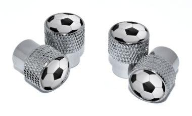 Soccer Ball Valve Stem Caps - Chrome Knurling