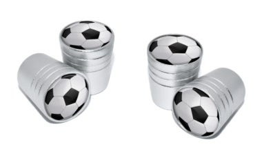 Soccer Ball Valve Stem Caps - Matte Chrome image