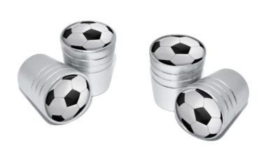 Soccer Ball Valve Stem Caps - Matte Chrome