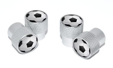 Soccer Ball Valve Stem Caps - Matte Knurling image