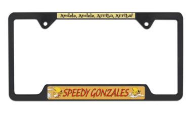 Speedy Gonzales Open Black License Plate Frame