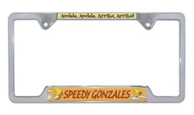 Speedy Gonzales Open Chrome License Plate Frame