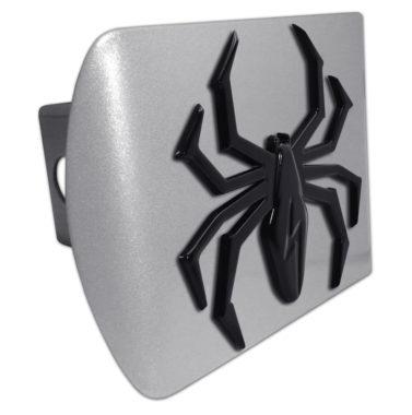 Black Lightning Spider Brushed Chrome Hitch Cover
