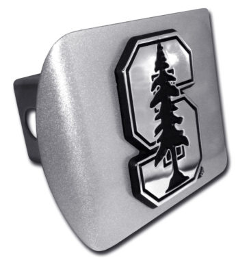 Stanford University Emblem on Brushed Hitch Cover