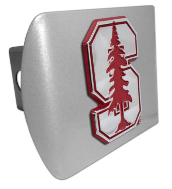 Stanford University Red Emblem on Brushed Hitch Cover