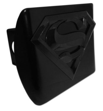 Superman All Black Metal Hitch Cover