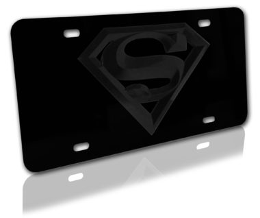 Superman All Black 3D License Plate image