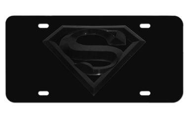 Superman All Black 3D License Plate