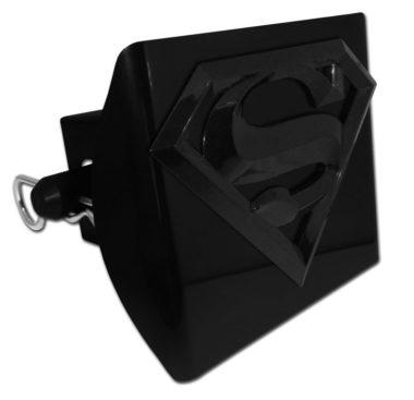 Superman Black Emblem on Black Plastic Hitch Cover