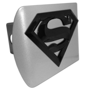 Superman Black Emblem on Brushed Hitch Cover