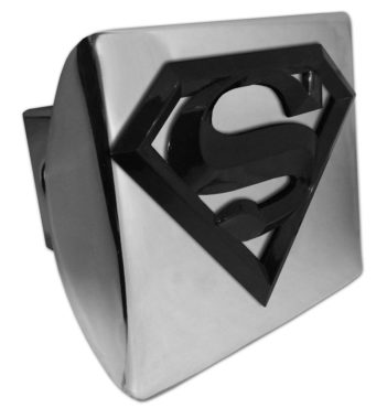 Superman Black Emblem on Chome Hitch Cover