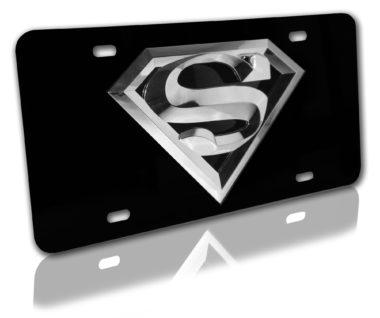 Superman Silver 3D Black License Plate