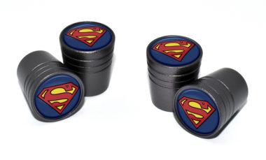 Superman Valve Stem Caps - Black Smooth image