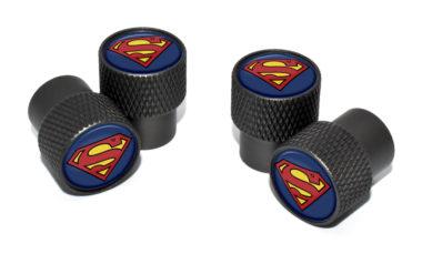 Superman Valve Stem Caps - Black Knurling