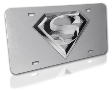 Superman Silver 3D License Plate
