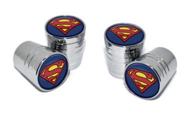 Superman Valve Stem Caps - Chrome Smooth