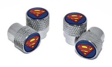 Superman Valve Stem Caps - Chrome Knurling image
