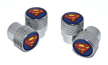 Superman Valve Stem Caps - Chrome Knurling