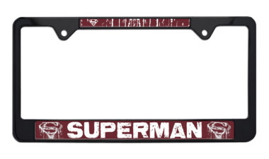 Superman Distressed Black License Plate Frame