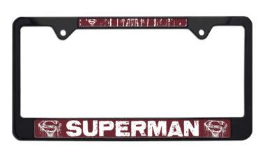Superman Distressed Black License Plate Frame image