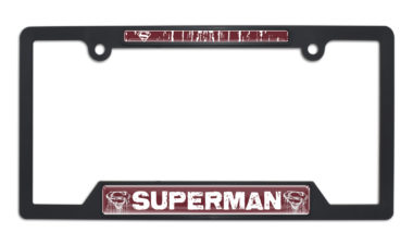 Superman Distressed Open Black Plastic License Plate Frame