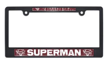 Superman Distressed Black Plastic License Plate Frame