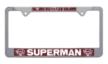 Superman Distressed Chrome License Plate Frame