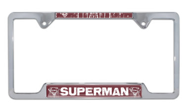Superman Distressed Open Chrome License Plate Frame