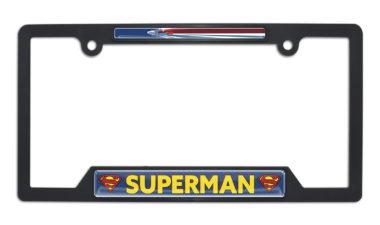 Superman Fly Open Black Plastic License Plate Frame