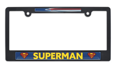 Superman Fly Black Plastic License Plate Frame