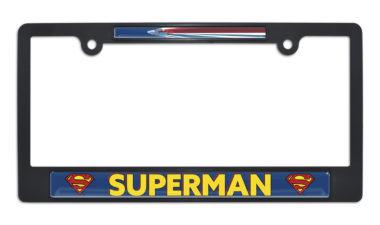 Superman Fly Black Plastic License Plate Frame image