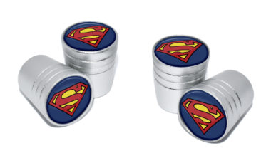 Superman Valve Stem Caps - Matte Chrome image