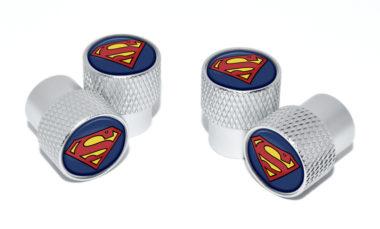 Superman Valve Stem Caps - Matte Knurling image