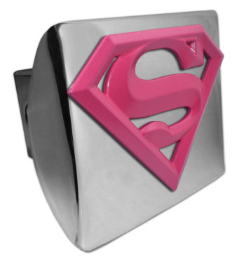 Supergirl Pink and Chrome Hitch Cover