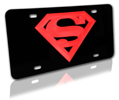 Superman Red and Black 3D License Plate image