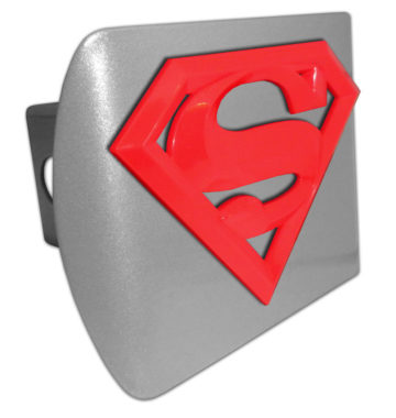 Superman Red Emblem on Brushed Hitch Cover