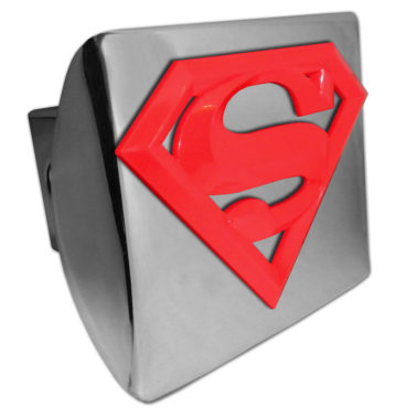 Superman Red Emblem on Chrome Hitch Cover