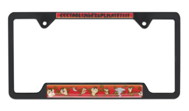 Tasmanian Devil Open Black License Plate Frame