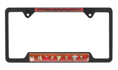 Tasmanian Devil Open Black License Plate Frame