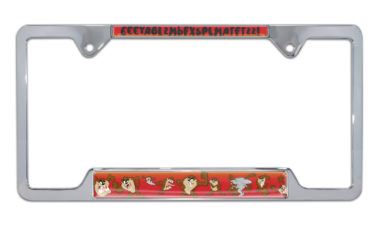 Tasmanian Devil Open Chrome License Plate Frame