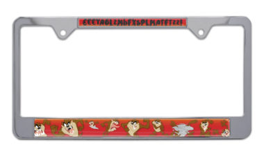 Tasmanian Devil Chrome License Plate Frame