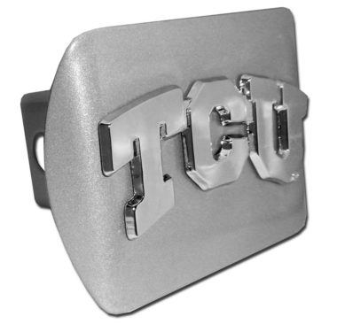 TCU Emblem on Brushed Hitch Cover