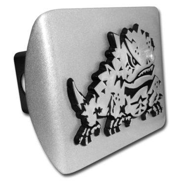 TCU Horn Frog Emblem on Brushed Hitch Cover