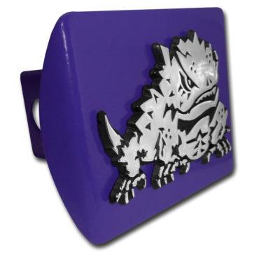 TCU Horn Frog Emblem on Purple Hitch Cover