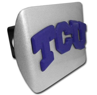 TCU Purple Emblem on Brushed Hitch Cover