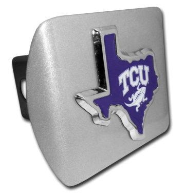 TCU Texas Shape Purple Emblem on Brushed Hitch Cover